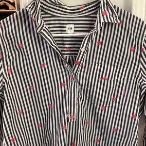 Striped gap semi button-down shirt